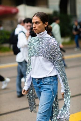 4x2k0j-l-610x610-silver-fashionweekstreetstyle-fashionweek2016-fashionweek-milanfashionweek2016-turtleneck-white-denim-jeans-bluejeans-glitter-croptops-sequinblouse