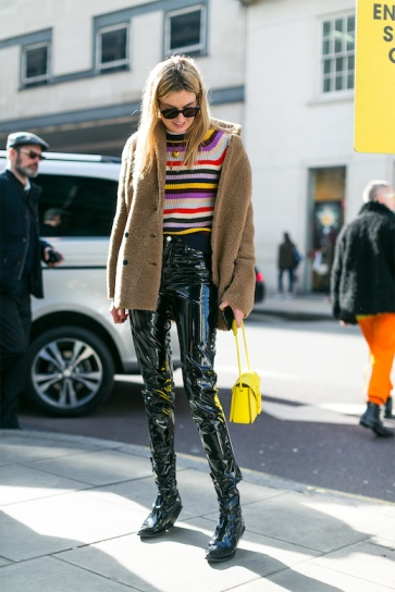 Camille-Charriere-Street-Style-Fall-Winter-Outfit-Bright-Striped-Sweater-Fuzzy-Coat-Patent-Leather-Pants-Boots-Yellow-Bag-Blogger-Le-Fashion-Blog