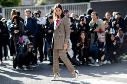 glen-plaid-printed-pantssuit-pants-suit-pfw-ss-2017-street-style-ps-fall-work-outfit