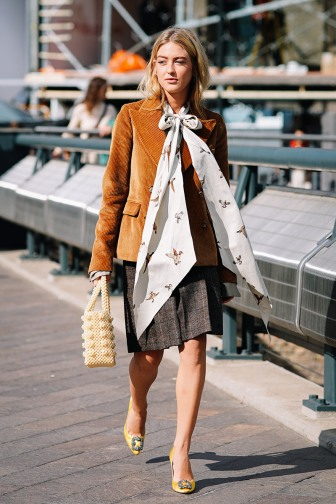 dress-codes-emili-sindlev-tan-corduroy-blazer-bow-blouse-plaid-skirt-yellow-heels-shrimps-bag