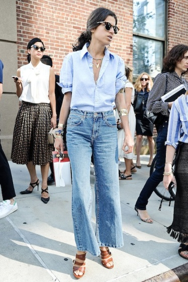 Le-Fashion-Blog-Street-Style-Nyfw-Sunglasses-Blue-Button-Down-Shirt-Cropped-Wide-Leg-Jeans-Brown-Strappy-Sandals-Stacked-Gold-Bracelets-Via-Popsugar