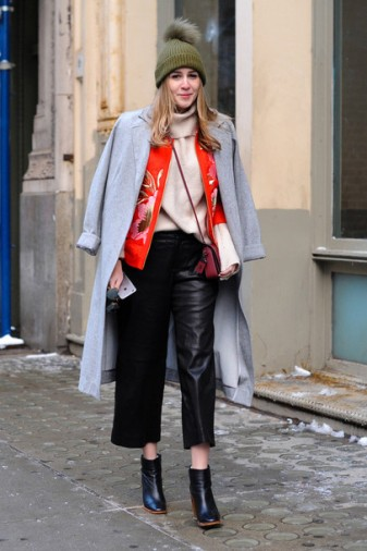 29hk63-l-610x610-coat-nyfw+2017-fashion+week+2017-fashion+week-streetstyle-grey+coat-jacket-floral-orange-pants-black+pants-cropped+pants-leather+pants-black+leather+pants-culottes-leath