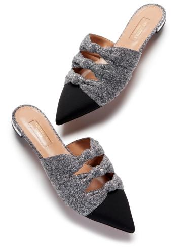 Aquazzura-Slides-&-mules-Mondaine-mule-flat-Blacksilver-Lurex-fabric-Left