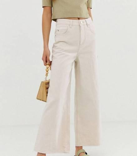 ASOS Design Premium Wide-Leg Jeans in Bone White (£38)